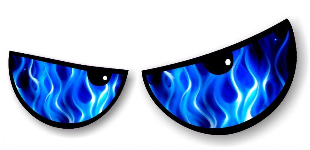 New Pair Of Cartoon Evil Eyes With Electric Blue Flames